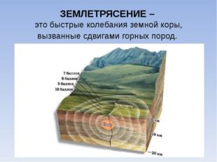 ЗЕМЛЕТРЯСЕНИЕ – это быстрые колебания земной коры, вызванные сдвигами горных