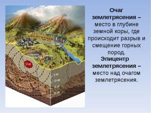 Очаг землетрясения – место в глубине земной коры, где происходит разрыв и сме