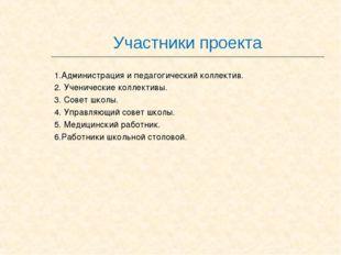 Участники проекта 1.Администрация и педагогический коллектив. 2. Ученические