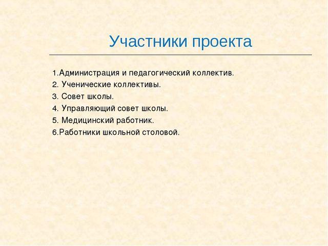 Участники проекта 1.Администрация и педагогический коллектив. 2. Ученические...