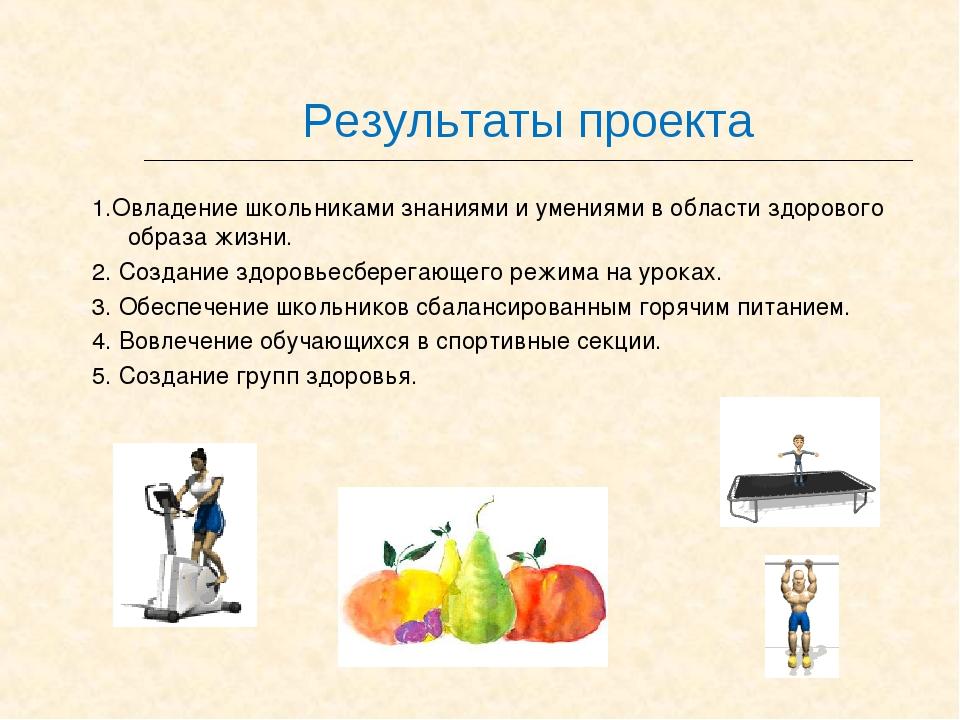 Результаты проекта 1.Овладение школьниками знаниями и умениями в области здор...
