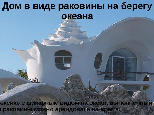 Дом в виде раковины на берегу океана Дом в Мексике с шикарным видом на океан,...