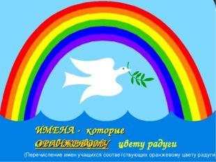 ИМЕНА - которые соответствуют ОРАНЖЕВОМУ цвету радуги (Перечисление имен учащ