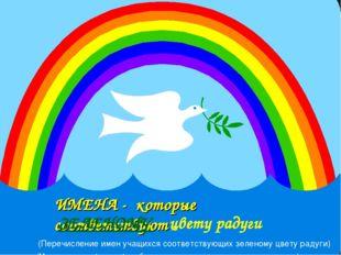 ИМЕНА - которые соответствуют ЗЕЛЕНОМУ цвету радуги (Перечисление имен учащих