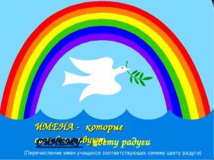 ИМЕНА - которые соответствуют СИНЕМУ цвету радуги (Перечисление имен учащихся