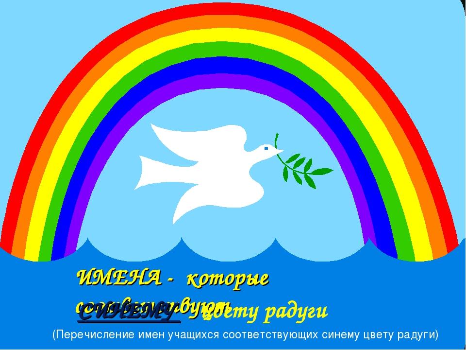 ИМЕНА - которые соответствуют СИНЕМУ цвету радуги (Перечисление имен учащихся...