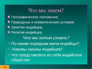 Что мы знаем? Географическое положение; Природные и климатические условия; З