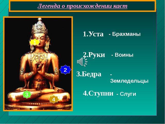 Легенда о происхождении каст 1 2 3 4 1.Уста 2.Руки 3.Бедра 4.Ступни - Брахман...