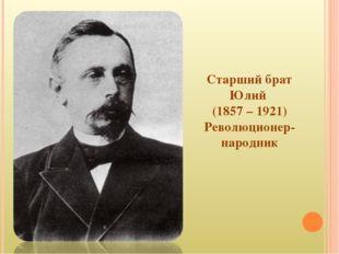 Старший брат Юлий (1857 – 1921) Революционер-народник