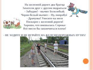 На железной дороге два братца Захотели друг с другом подраться: - Забодаю! -