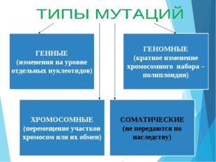 ГЕННЫЕ (изменения на уровне отдельных нуклеотидов) ГЕНОМНЫЕ (кратное изменени