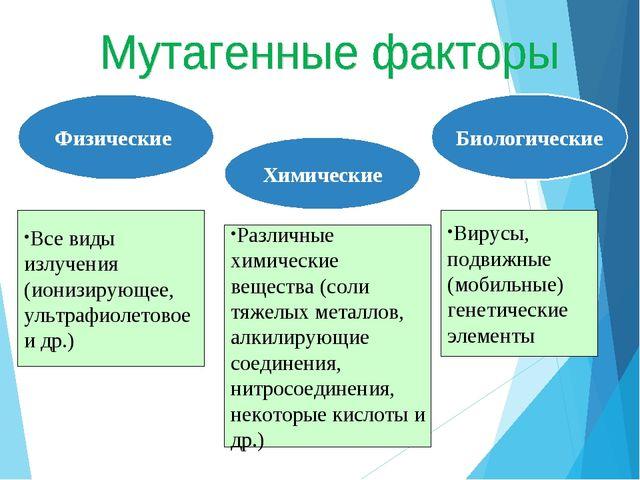 Физические Химические Биологические Все виды излучения (ионизирующее, ультраф...