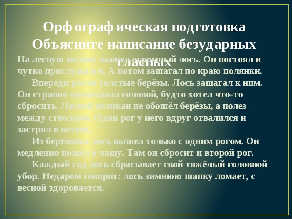 Орфографическая подготовка Объясните написание безударных гласных На лесную п...