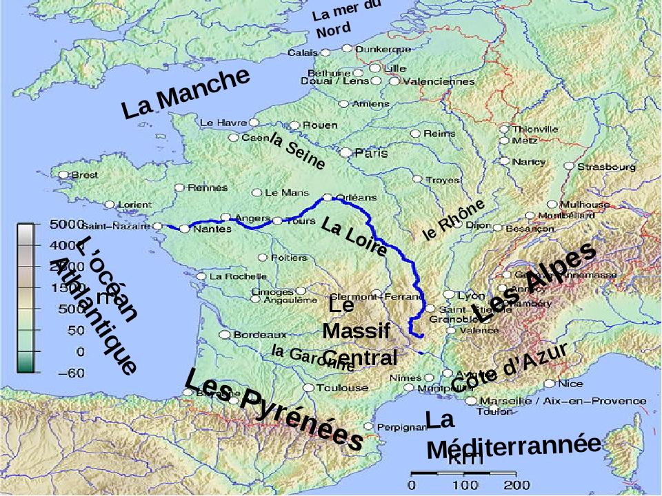 L'océan Athlantique La Méditerrannée La mer du Nord La Manche La Loire Les Py...