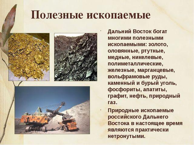 Полезные ископаемые Дальний Восток богат многими полезными ископаемыми: золот...