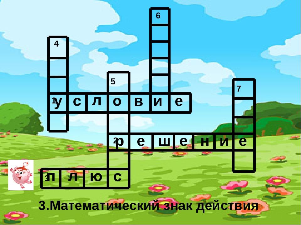 3.Математический знак действия у с л о в и е р е ш е н и е п л ю с 4 1 5 2 3...