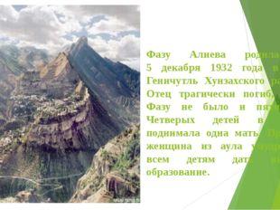 Фазу Алиева родилась 5 декабря 1932 года в селе Геничутль Хунзахского района.
