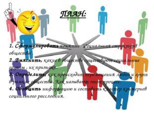 """ПЛАН: 1. Сформулировать понятие """"Социальная структура общества"""". 2. Выяснить,"""