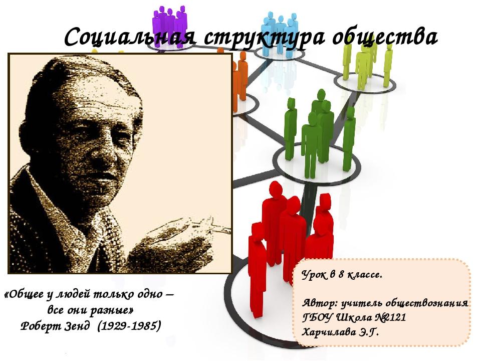 Социальная структура общества Урок в 8 классе. Автор: учитель обществознания...
