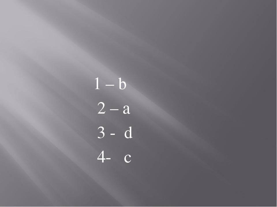 1 – b 2 – a 3 - d 4- c