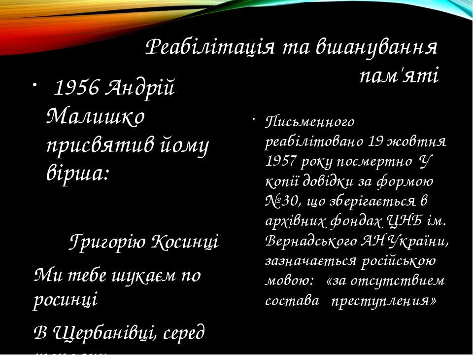 Реабілітація та вшанування пам'яті 1956 Андрій Малишко присвятив йому вірша:...