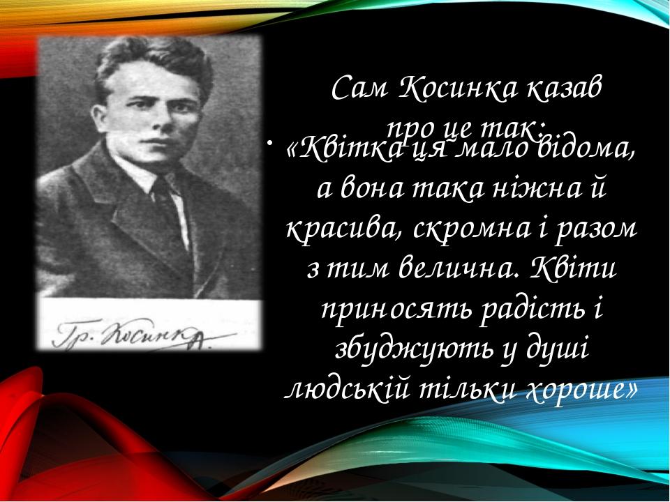 Сам Косинка казав про це так: «Квітка ця мало відома, а вона така ніжна й кра...