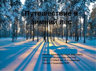 Путешествие в зимний лес Автор: Линник Наталия Ивановна, учитель начальных к
