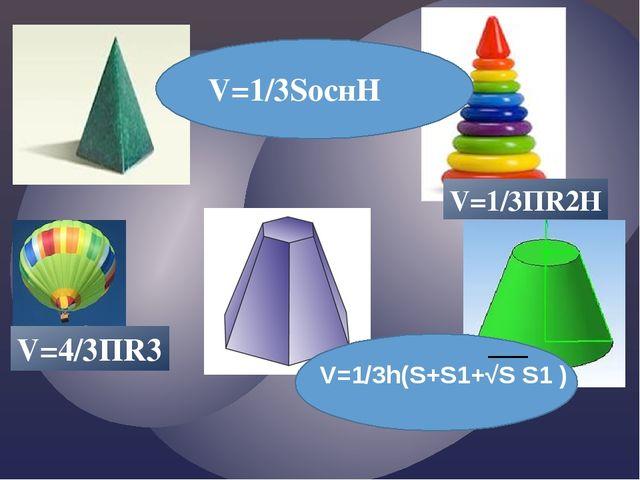V=1/3SоснН V=1/3ПR2Н V=4/3ПR3 V=1/3h(S+S1+√S S1 )