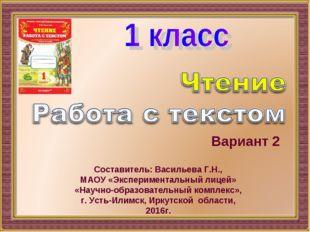 Вариант 2 Составитель: Васильева Г.Н., МАОУ «Экспериментальный лицей» «Научно