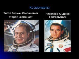 Космонавты Титов Герман Степанович второй космонавт Николаев Андриян Григорье