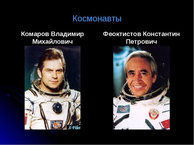 Космонавты Комаров Владимир Михайлович Феоктистов Константин Петрович