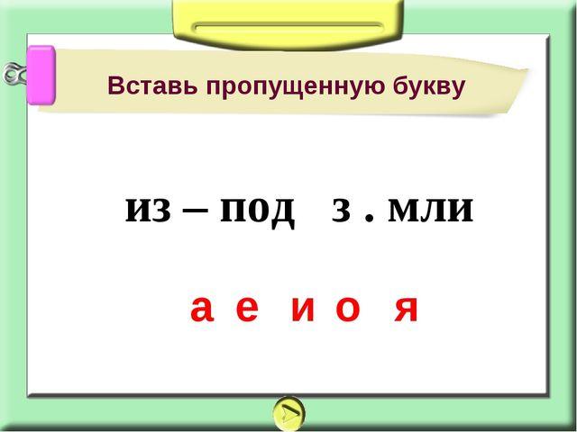 Вставь пропущенную букву а е и о я из – под з . мли