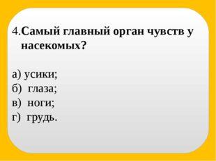 4.Самый главный орган чувств у насекомых? а) усики; б) глаза; в) ноги; г) гр
