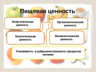 Пищевая ценность Энергетическая ценность Биологическая ценность Физиологическ