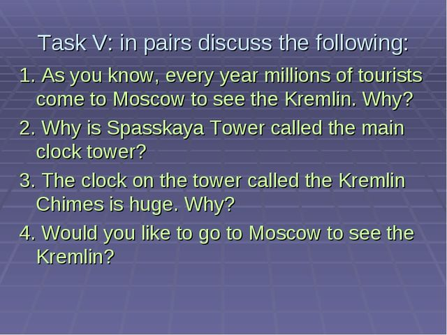 Task V: in pairs discuss the following: 1. As you know, every year millions o...