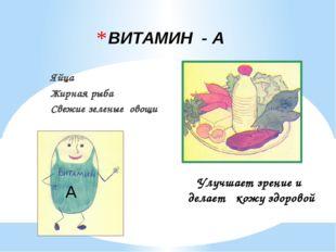 ВИТАМИН - А Яйца Жирная рыба Свежие зеленые овощи А Улучшает зрение и делает