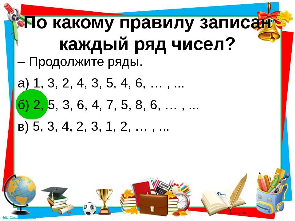 По какому правилу записан каждый ряд чисел? – Продолжите ряды. а) 1, 3, 2, 4,...