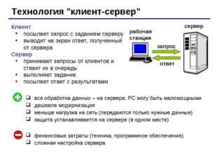 """Технология """"клиент-сервер"""" Клиент посылает запрос с заданием серверу выводит"""