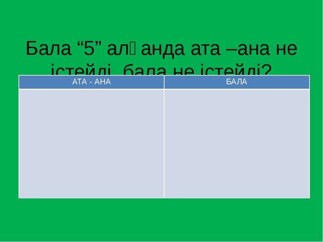 """Бала """"5"""" алғанда ата –ана не істейді, бала не істейді? АТА - АНА БАЛА"""