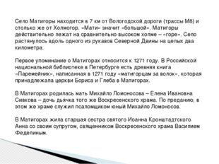 Село Матигоры находится в 7 км от Вологодской дороги (трассы М8) и столько же