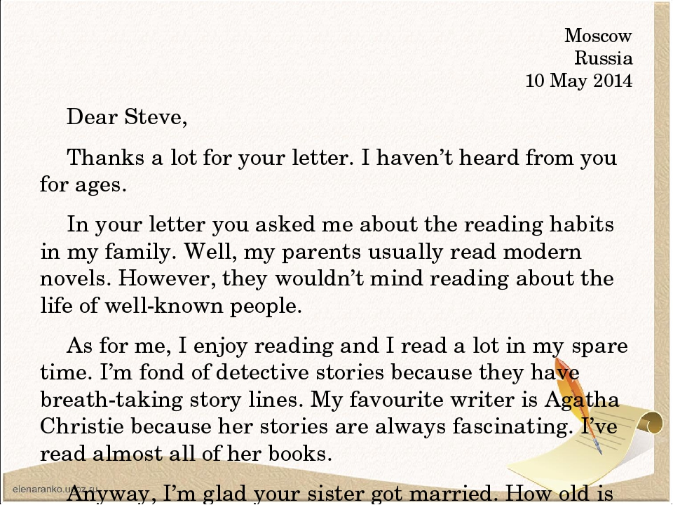 Moscow Russia 10 May 2014 Dear Steve, Thanks a lot for your letter. I haven't...