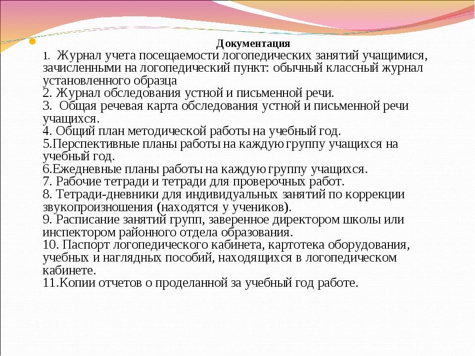 Документация 1. Журнал учета посещаемости логопедических занятий учащимися,...