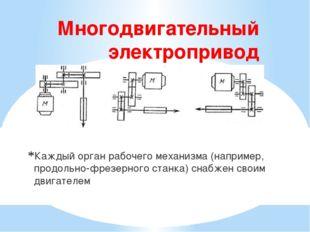 Многодвигательный электропривод Каждый орган рабочего механизма (например, пр