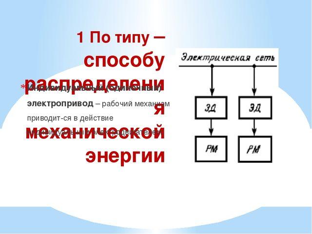1 По типу – способу распределения механической энергии Индивидуальный (одиноч...