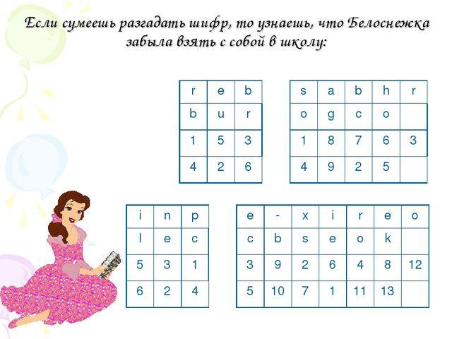 Если сумеешь разгадать шифр, то узнаешь, что Белоснежка забыла взять с собой...