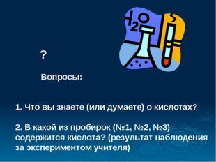? Вопросы: 1. Что вы знаете (или думаете) о кислотах? 2. В какой из пробирок