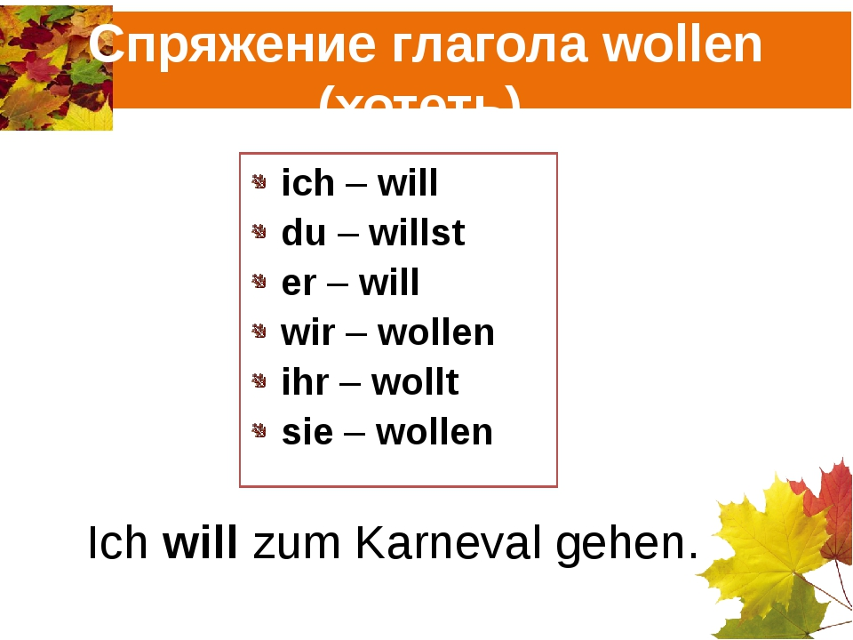 Спряжение глагола wollen (хотеть). ich – will du – willst er – will wir – wol...