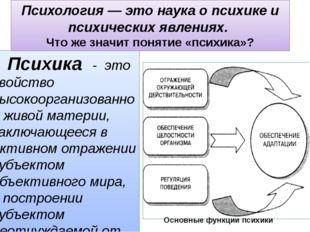 Психика - это свойство высокоорганизованной живой материи, заключающееся в а