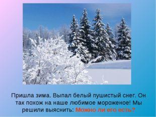 Пришла зима. Выпал белый пушистый снег. Он так похож на наше любимое морожено