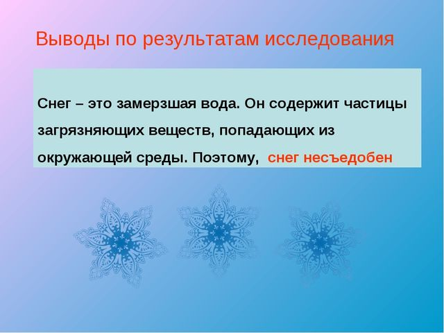 Выводы по результатам исследования Снег – это замерзшая вода. Он содержит час...